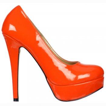 Shoekandi Stiletto Platform High Heel - Party Shoes - Orange Patent