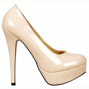Shoekandi Stiletto Platform High Heels - Party Shoes - Nude Patent