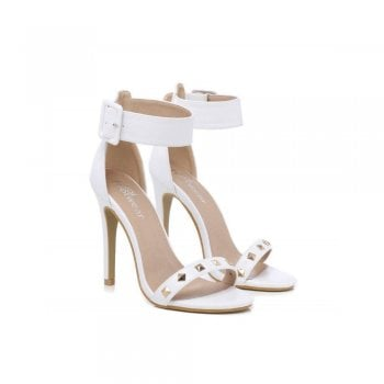Stiletto Sandals Ankle Strap with Studded Toe Strap - Black Suede , White PU , Beige Suede