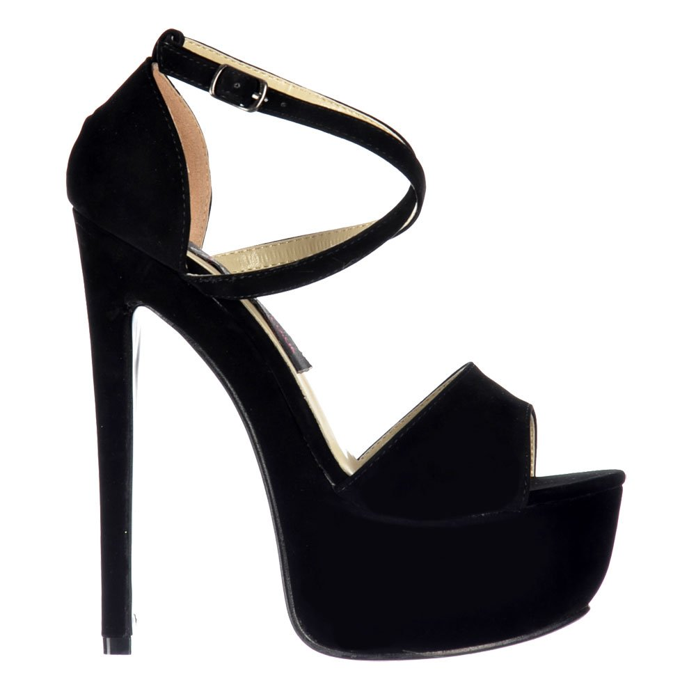 21816772160 Shoekandi Strappy Cross Over High Heel Party Shoes - Black Suede ...
