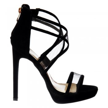 Shoekandi Strappy Cross Over High Heel Party Shoes - Black Suede, White Lizard