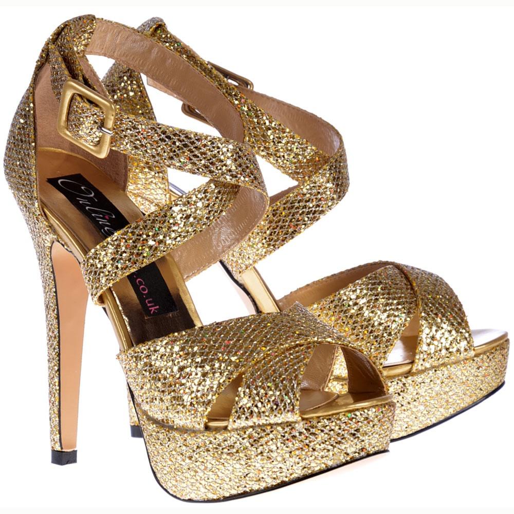 9469aa8ad46665 ... Shoekandi Strappy Glitter Stiletto Platform High Heel Shoes - Gold ...