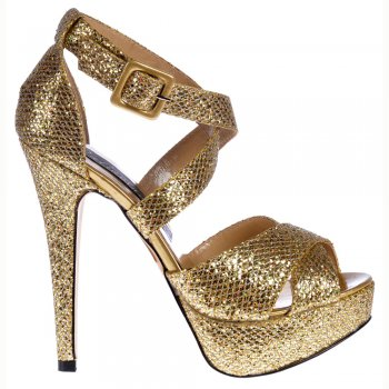Shoekandi Strappy Glitter Stiletto Platform High Heel Shoes - Gold