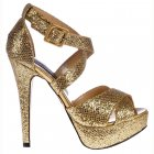 Strappy Glitter Stiletto Platform High Heel Shoes - Gold