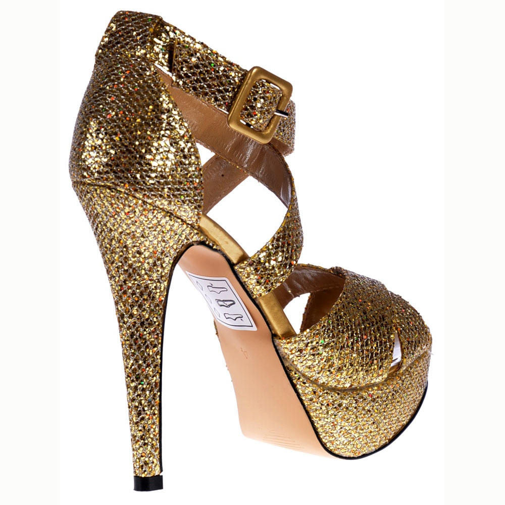 Shoekandi Strappy Glitter Stiletto Platform High Heel Shoes - Gold ...