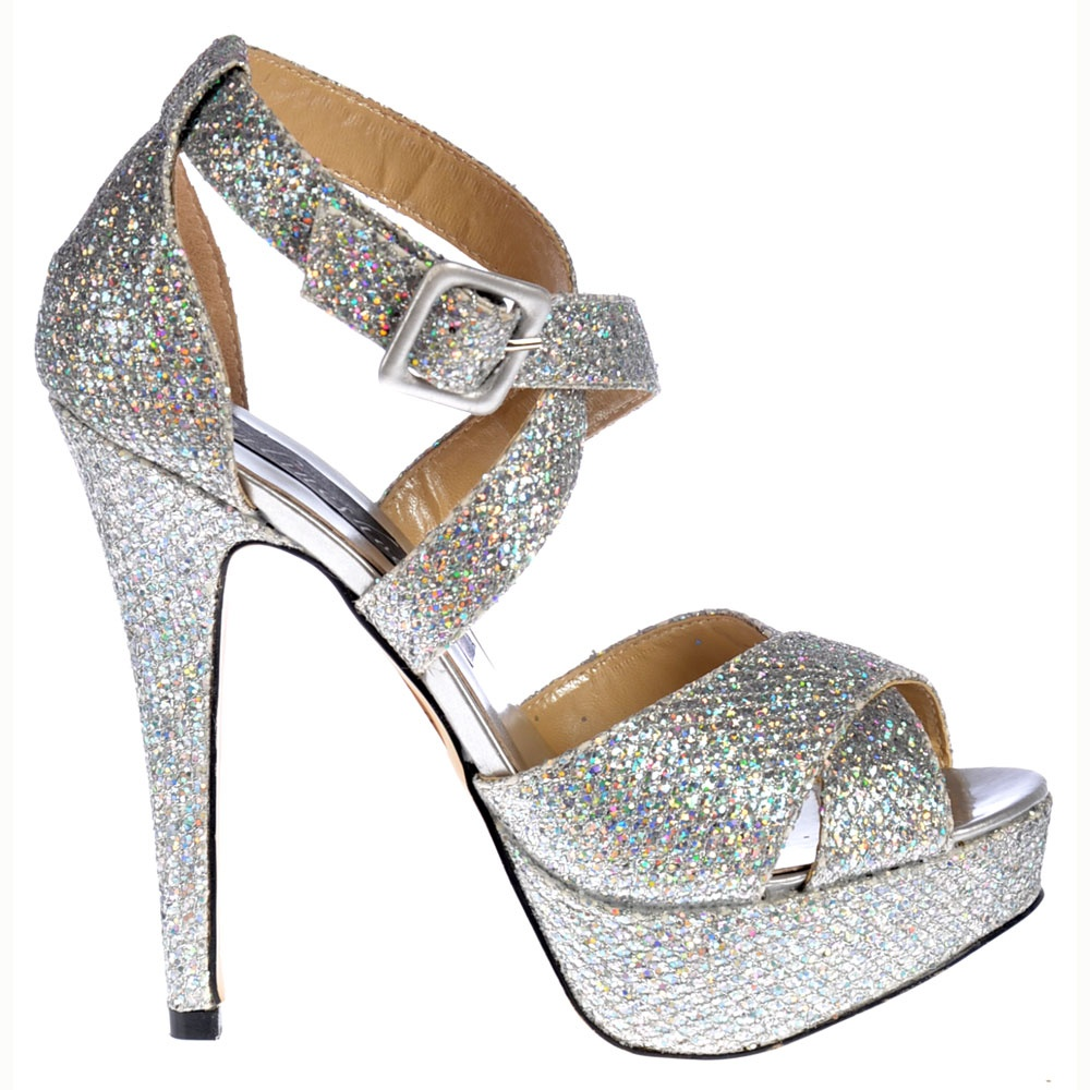 Shoekandi Strappy Glitter Stiletto Platform High Heel Shoes ...