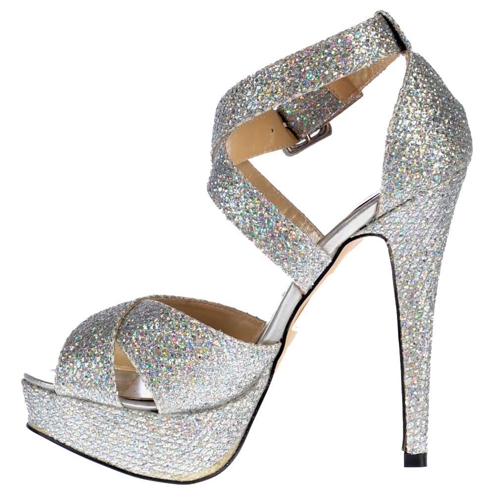 Shoekandi Strappy Glitter Stiletto Platform High Heel Shoes ...
