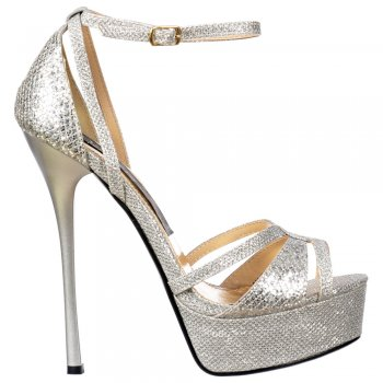 Shoekandi Strappy Peep Toe Sparkly Glitter Stiletto Heel - Cross Over Toe - Silver Glitter
