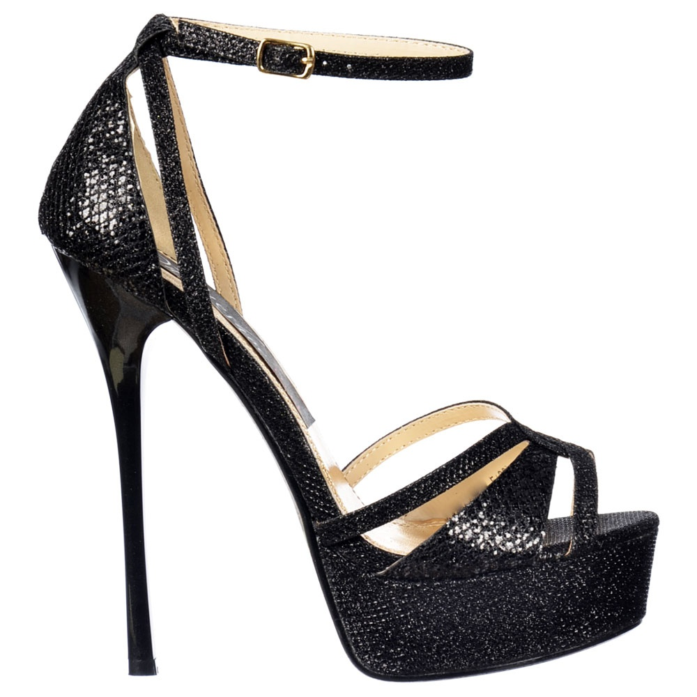 ... Sparkly Glitter Peep Toe Stiletto Heel - Cross Over Toe - Black