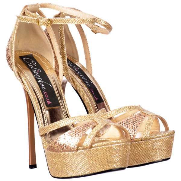 Shoekandi Strappy Sparkly Glitter Peep Toe Stiletto Heel - Cross ...