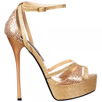 Shoekandi Strappy Sparkly Glitter Peep Toe Stiletto Heel - Cross Over Toe - Gold Glitter