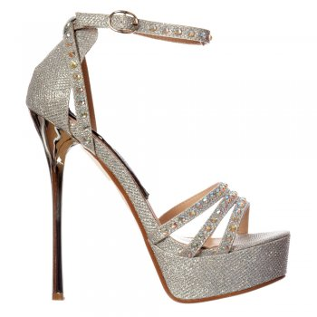 Shoekandi Strappy Sparkly Glitter Stiletto Metallic Heel - Cross Over Crystal Encrusted - Gold, Silver, Black