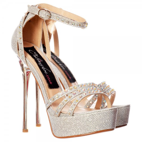 4aa048a41ebd22 Shoekandi Strappy Sparkly Glitter Stiletto Metallic Heel - Cross Over  Crystal Encrusted - Gold