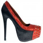 Studded Black and Red Glitter Stiletto Concealed Platform Shoes - Black and Red Glitter