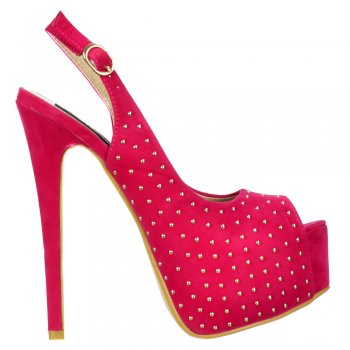 Shoekandi Studded Peep Toe High Heels - Slingback Stilettos - Fuchsia Pink Suede