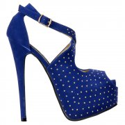 Studded Strappy Stiletto Platform High Heel Shoes - Blue Suede