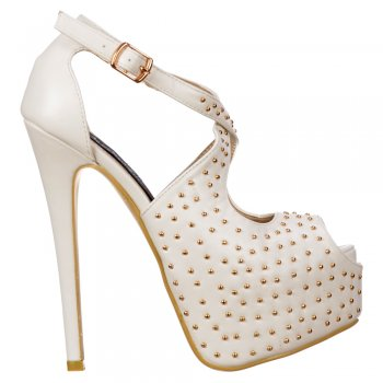 Shoekandi Studded Strappy Stiletto Platform High Heel Shoes - White PU