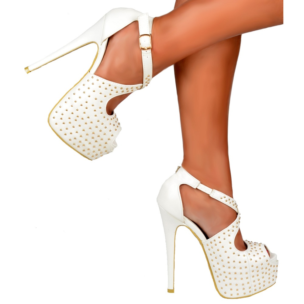 9b2fcae24c ... Shoekandi Studded Strappy Stiletto Platform High Heel Shoes - White PU.  ‹