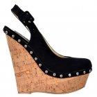 Studded Suede Sling Back Wedge Shoes - Cork Studded Heel - Nude Beige, Red, Black