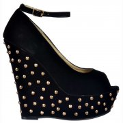 Studded Suede Wedge Peep Toe Platform Shoes Ankle Strap - Black Studded