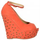 Studded Suede Wedge Peep Toe Platform Shoes Ankle Strap - Coral Studded
