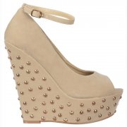 Studded Suede Wedge Peep Toe Platform Shoes Ankle Strap - Nude / Beige Studded