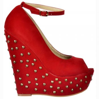 Shoekandi Studded Suede Wedge Peep Toe Platform Shoes Ankle Strap - Red Studded