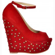 Studded Suede Wedge Peep Toe Platform Shoes Ankle Strap - Red Studded