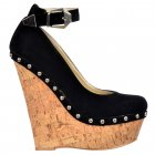 Studded Wedge Ankle Strap Shoes - Cork Studded Heel - Black Suede Studded