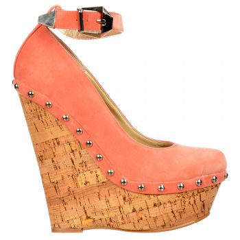 Shoekandi Studded Wedge Ankle Strap Shoes - Cork Studded Heel - Coral Suede Studded