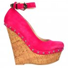 Studded Wedge Ankle Strap Shoes - Cork Studded Heel - Fuchsia Suede Studded