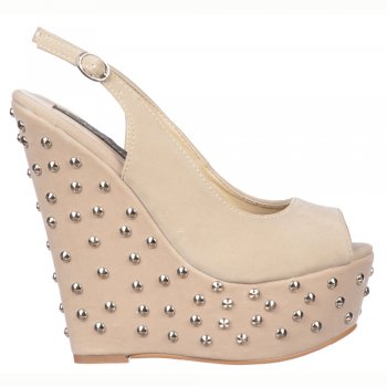 Shoekandi Studded Wedge Peep Toe Shoes - Sling Backs - Nude/Beige Suede Studded
