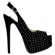 Studed Peep Toe High Heels - Slingback Stilettos - Black Suede