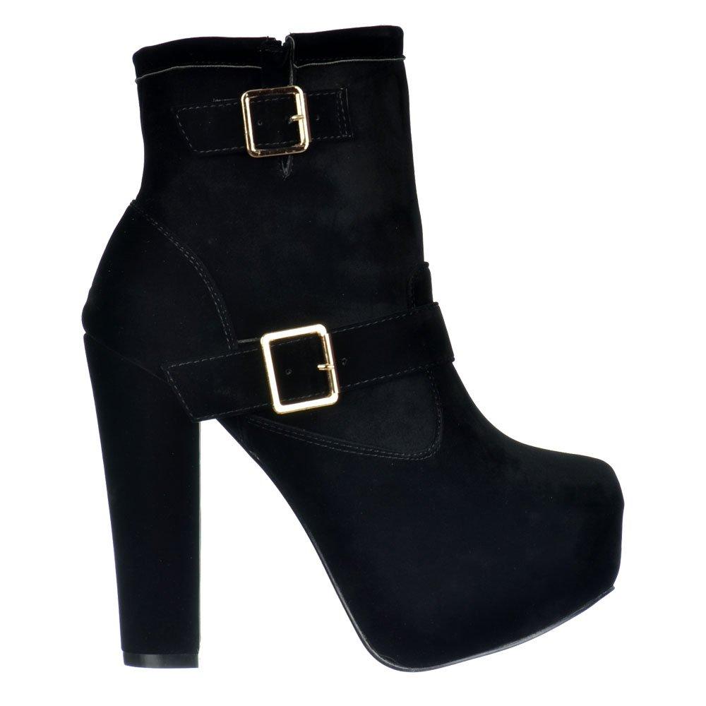 shoekandi suede ankle high heel chelsea boot buckles