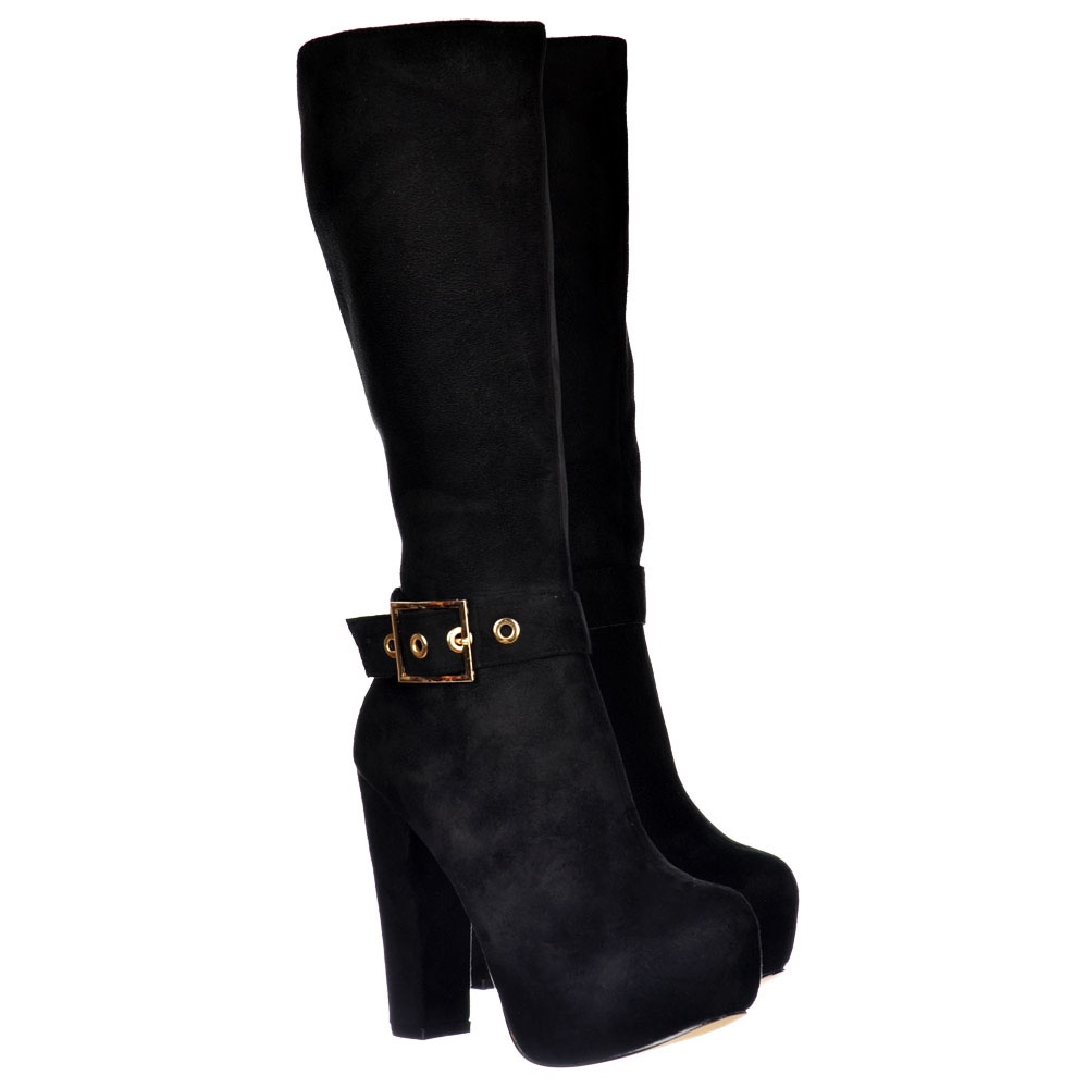 shoekandi suede high heel knee high winter boot gold