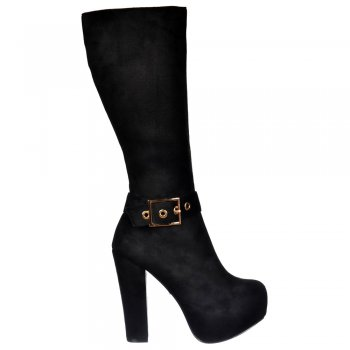 Shoekandi Suede High Heel Knee High Winter Boot -  Gold Buckle - Black Suede