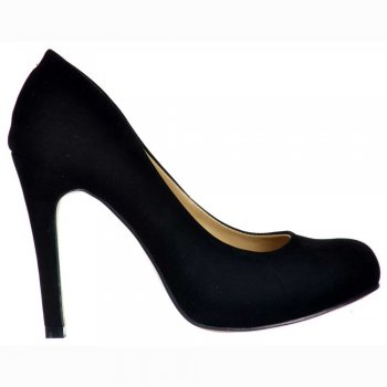 Shoekandi Suede Mid Heel Stiletto Court Shoe - Black Suede