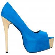 Suede Two Tone Peep Toe High Heels - Concealed Platform - Blue / Beige