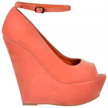 Shoekandi Suede Wedge Peep Toe Platform Shoes Ankle Strap - Coral Suede