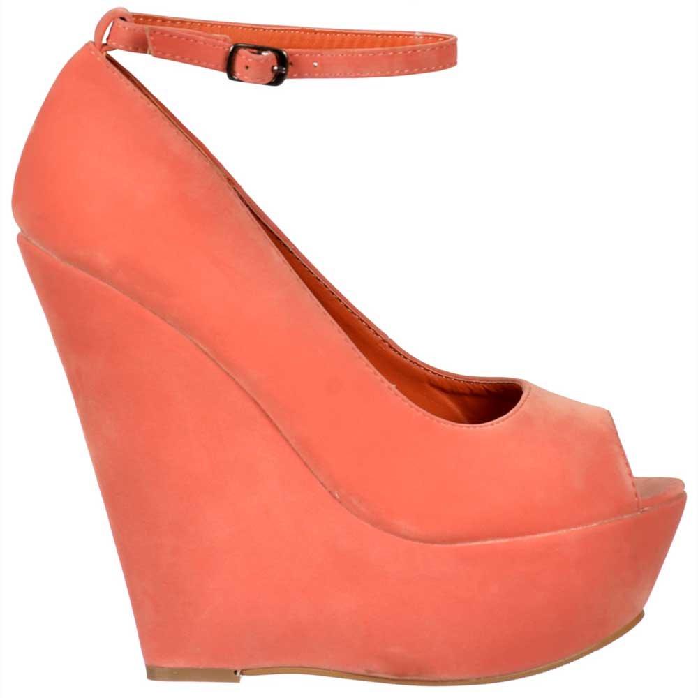 9f13bddbf4e1 Shoekandi Suede Wedge Peep Toe Platform Shoes Ankle Strap .