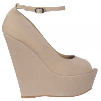 Shoekandi Suede Wedge Peep Toe Platform Shoes Ankle Strap - Nude/Beige Suede