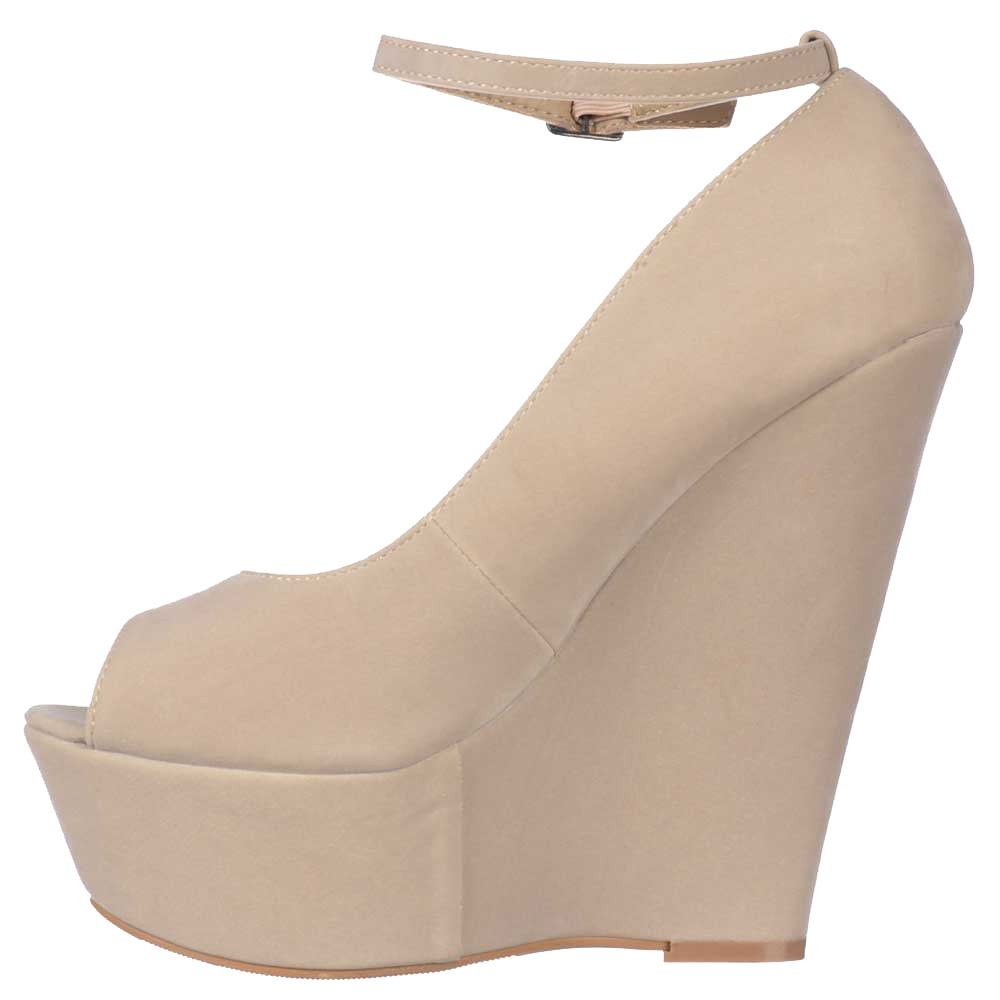 6a4df7bfe9f ... Shoekandi Suede Wedge Peep Toe Platform Shoes Ankle Strap - Nude Beige  Suede ...
