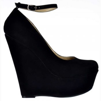Shoekandi Suede Wedge Platform Shoes Ankle Strap - Black Suede