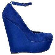Suede Wedge Platform Shoes Ankle Strap - Blue Suede