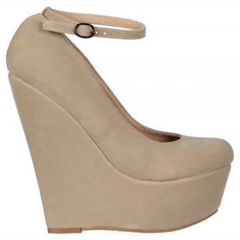 Shoekandi Suede Wedge Platform Shoes Ankle Strap - Nude / Beige Suede