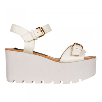 Shoekandi Summer Peep Toe Sandals - Chunky Wedge - White, Silver Hologram