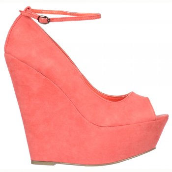Shoekandi Summer Peep Toe Wedge Sandals Ankle Strap - Coral Suede