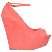Summer Peep Toe Wedge Sandals Ankle Strap - Coral Suede
