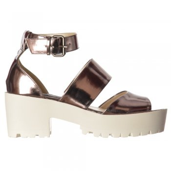 Shoekandi Summer Sandals Cleated Sole Block Low Heel - Ankle Strap - Pewter Chrome, Silver Hologram