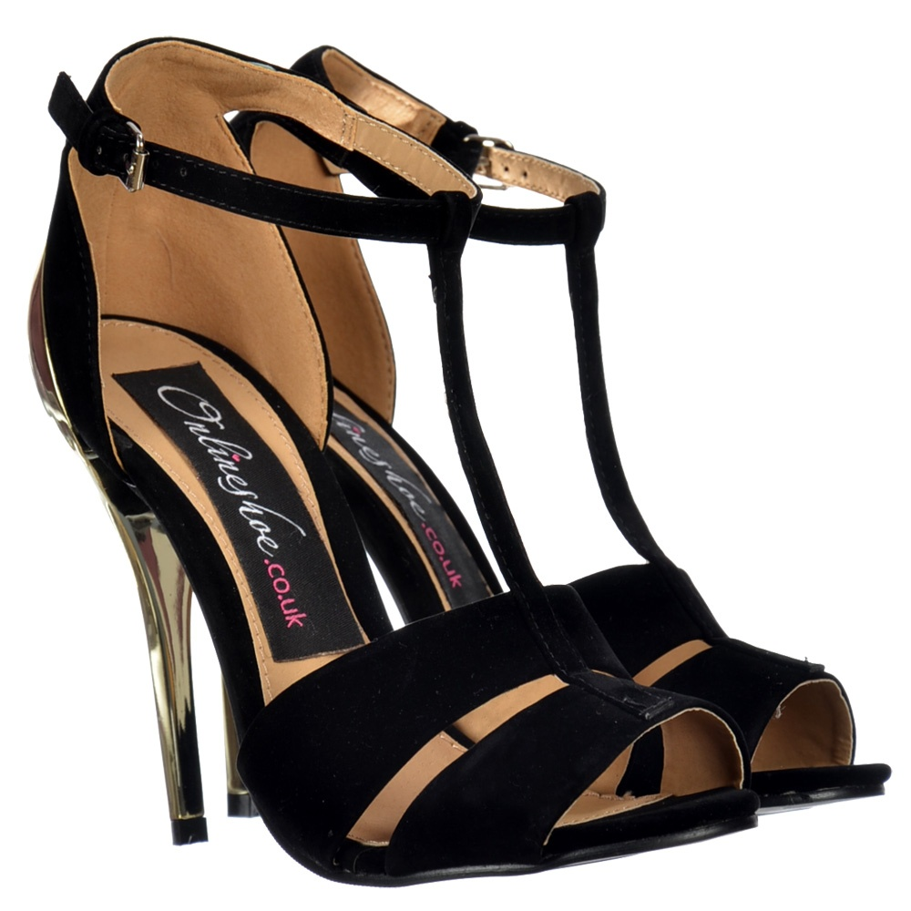 30497ac117f9 Shoekandi T Bar Peep Toe Mid Heels - Gold Heel Strappy .